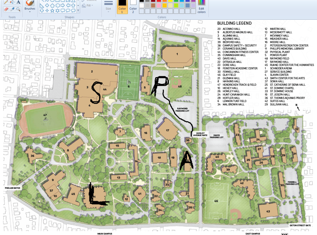 campus map with parking